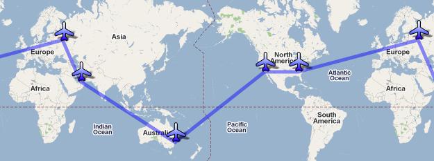 Кругосветное путешествие за 5 дней, карта