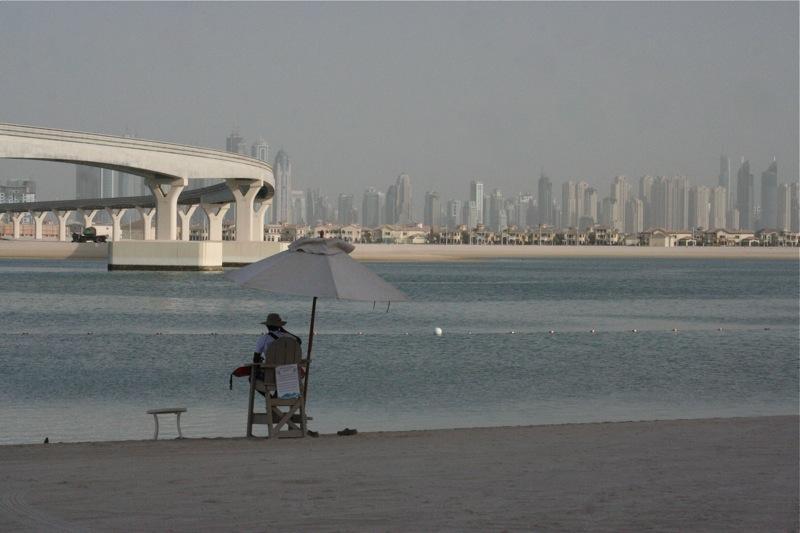 Вид с Palm Jumeirah на Дубай