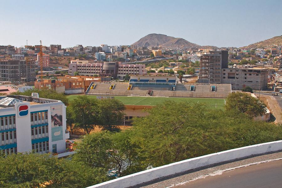 Логотип Cabo Verde Telecom, стадион, город Прая. Кабо-Верде, остров Сантьягу.