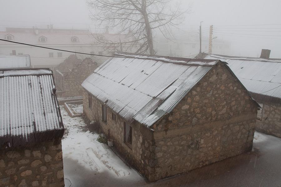 Snow in mountain region Cedars of Lebanon. Снег в ливанских горах