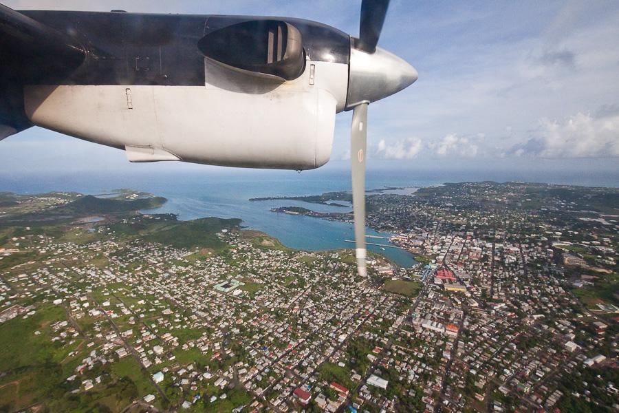 St. John's city aerial view, Antigua island, Antigua and Barbuda, Caribbean. Город Сент-Джонс с высоты птичьего полета, остров Антигуа, Антигуа и Барбуда, Карибский бассейн.
