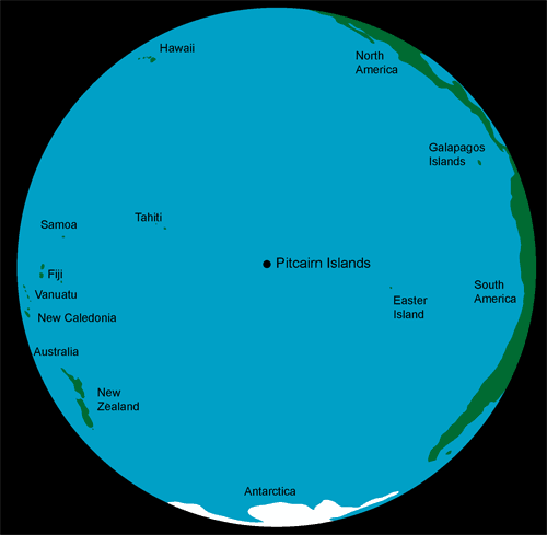 Остров Питкэрн на карте мира. Южный Тихий Океан.