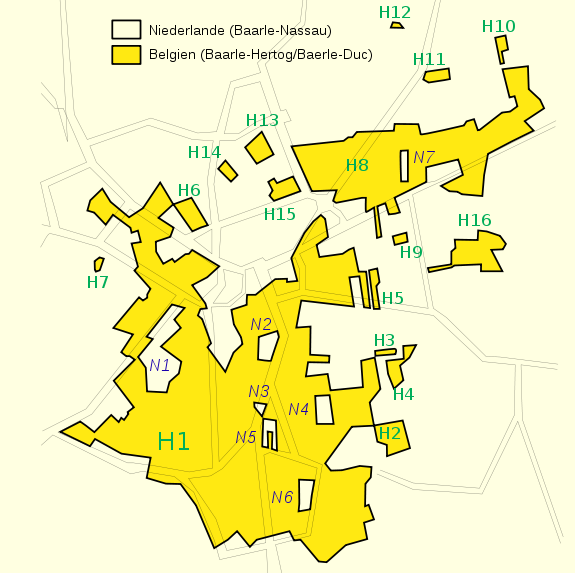 Карта: граница разделяет бельгийский город Барле-Хертог и голландский Барле-Нассау. Map of border between Belgian town Baarle-Hertog and Dutch town Baarle-Nassau
