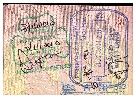 Печать в паспорте о въезде в Монтсеррат. Montserrat West Indies Entered passport stamp. Saint Lucia passport stamp. Сент-Люсия штамп в паспорте