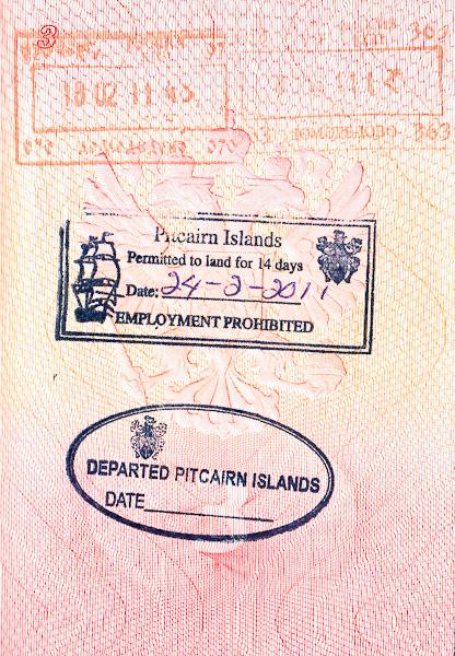 Въездной и выездной штампы/печать острова Питкэрн в паспорте. Pitcairn Island entry/departed passport stamps
