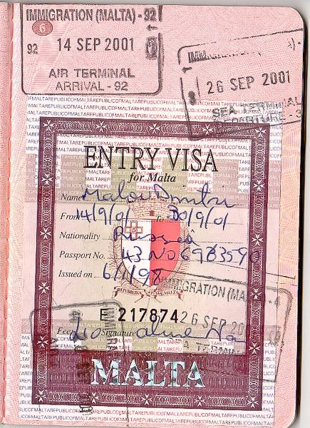 Старая дошенгенская виза Мальты и пограничная печать/штамп в паспорт. Pre-schengen Entry Visa for Malta and border stamps