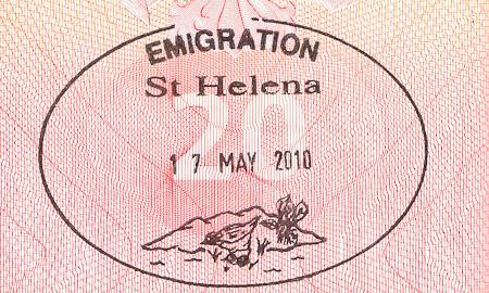 Saint Helena Island Emigration stamp. Печать/штамп о въезде на остров Святой Елены