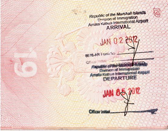 Пограничный штамп в паспорт о въезде на Маршалловы острова. Marshall Islands border passport stamp.