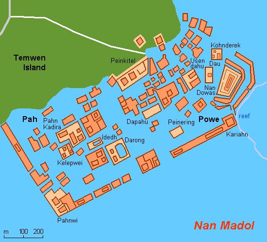 Карта-схема Нан-Мадола, остров Понпеи, Микронезия, Тихий Океан. Nan Madol map, Pohnpei