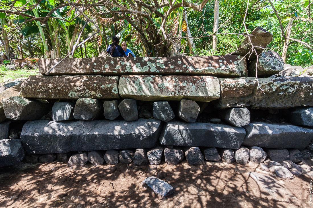 Inside Nan Madol: central Nandauwas part: masonry (stonework) of large basalt slabs, ruins in the jungle, Pohnpei island, Micronesia, Oceania. Внутри Нан-Мадола: центральная часть Нандаувас: каменная кладка из больших базальтовых плит, заросшие руины в джунглях, остров Понпеи, Микронезия, Океания