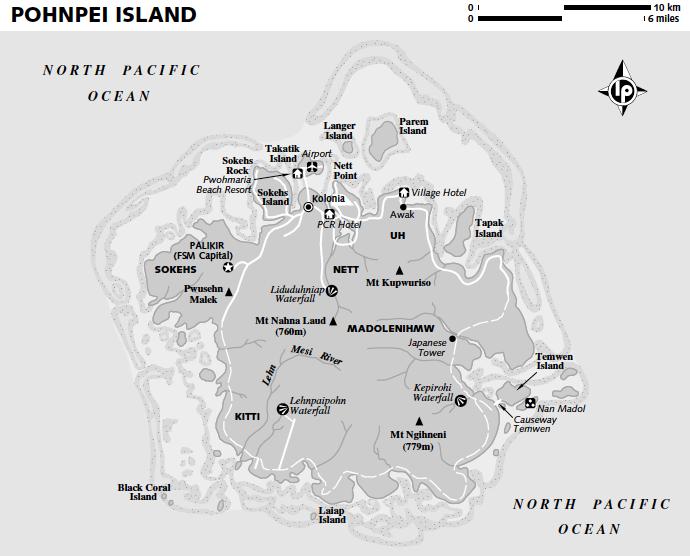 Нан-Мадол на карте острова Понапе (Понпей), Федеративные Штаты Микронезии, Тихий Океан. Nan Madol on Pohnpei Island map, Micronesia, Pacific