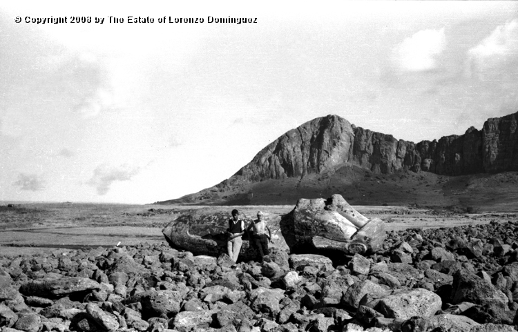 Easter Island. 1960. Ahu Tongariki. Lorenzo Dominguez is standing on the right. Photograph taken shortly after the destruction of the ahu by the tsunami of May 22, 1960. Аху Тонгарики после цунами, Остров Пасхи (Рапа-Нуи), 1960