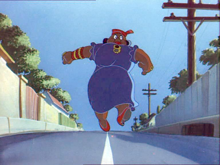 Mammy Two Shoes, in a scene from the Tom & Jerry short Saturday Evening Puss, whose full face was shown for the first time.