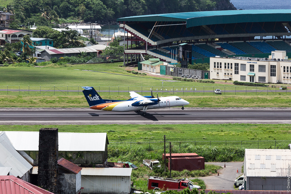 V2-LFV LIAT De Havilland Canada DHC-8-311 Dash 8 - cn 283 departs E.T. Joshua Airport (IATA: SVD, ICAO: TVSV)