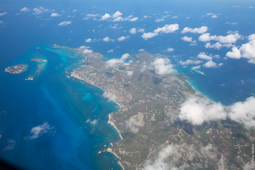 Север острова Carriacou, острова Гренадины, Гренада. Аэро-фото