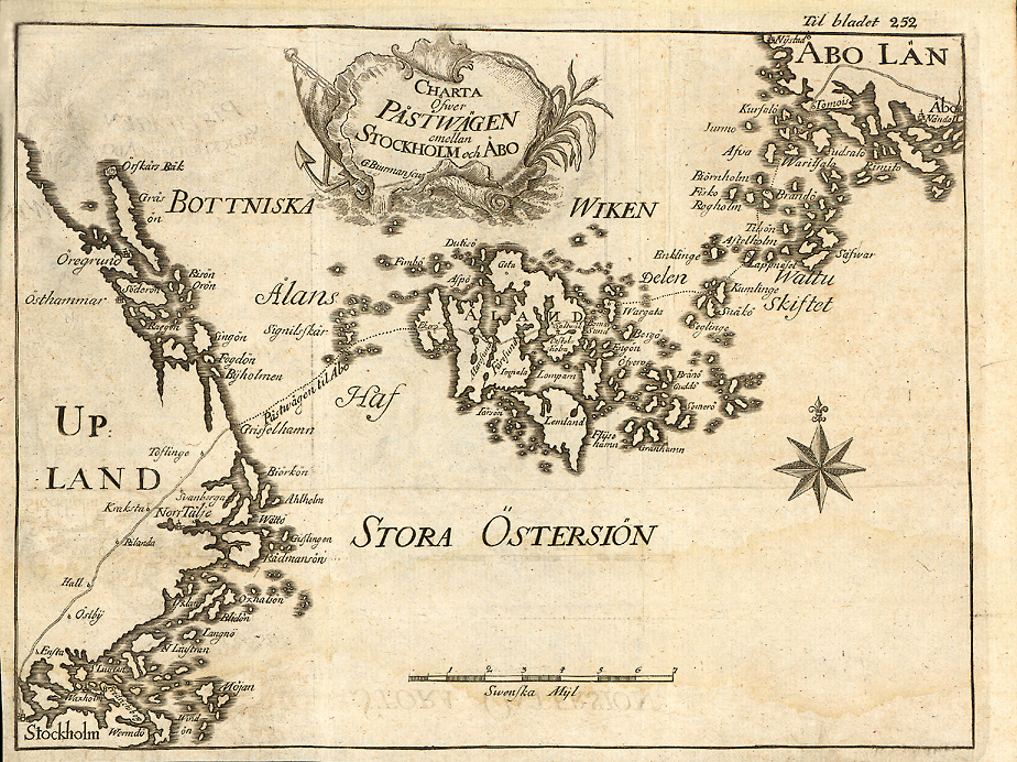 Почтовая дорога Стокгольм—Турку, карта 1749 года. Charta öfver Påstwägen emellan Stockholm och Åbo från 1749.