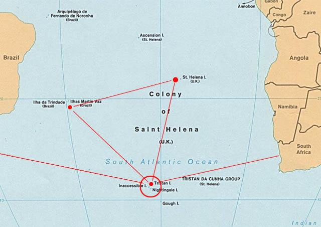 Карта Южной Атлантики - остров Тристан-да-Кунья, остров Гоф, остров Святой Елены, остров Вознесения, остров Фернанду-ди-Норонья, Кейптаун