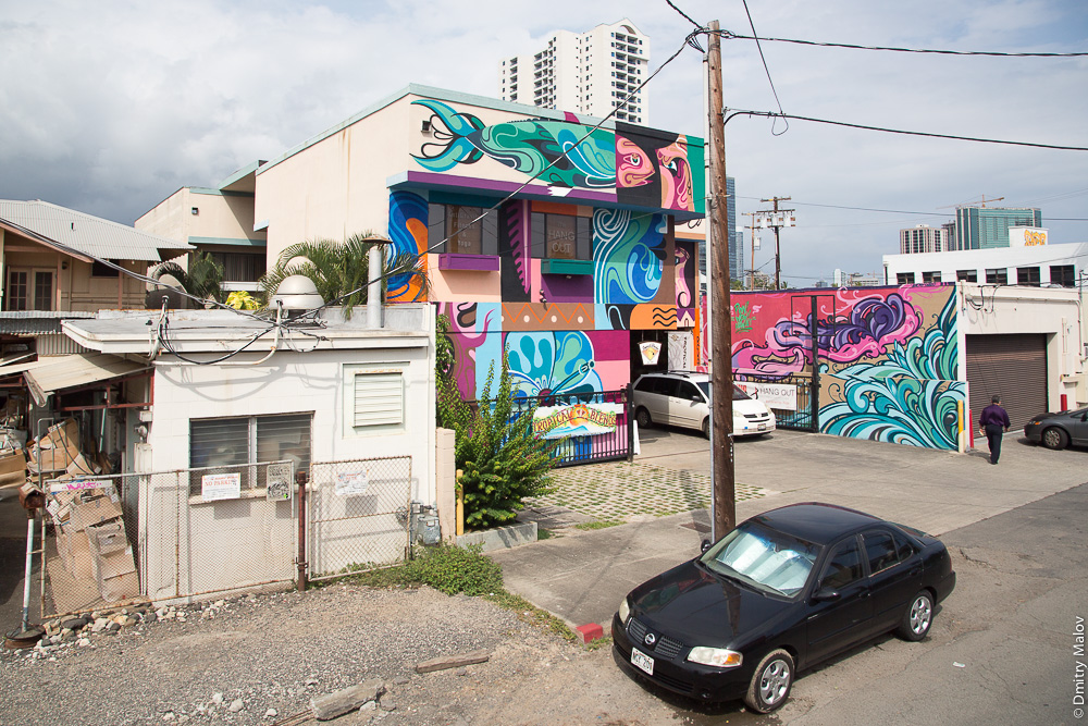 Fish graffiti, Pohukaina St, Honolulu, Hawaii. Граффити рыба, Гавайи, Гонолулу, Похекайна-стрит