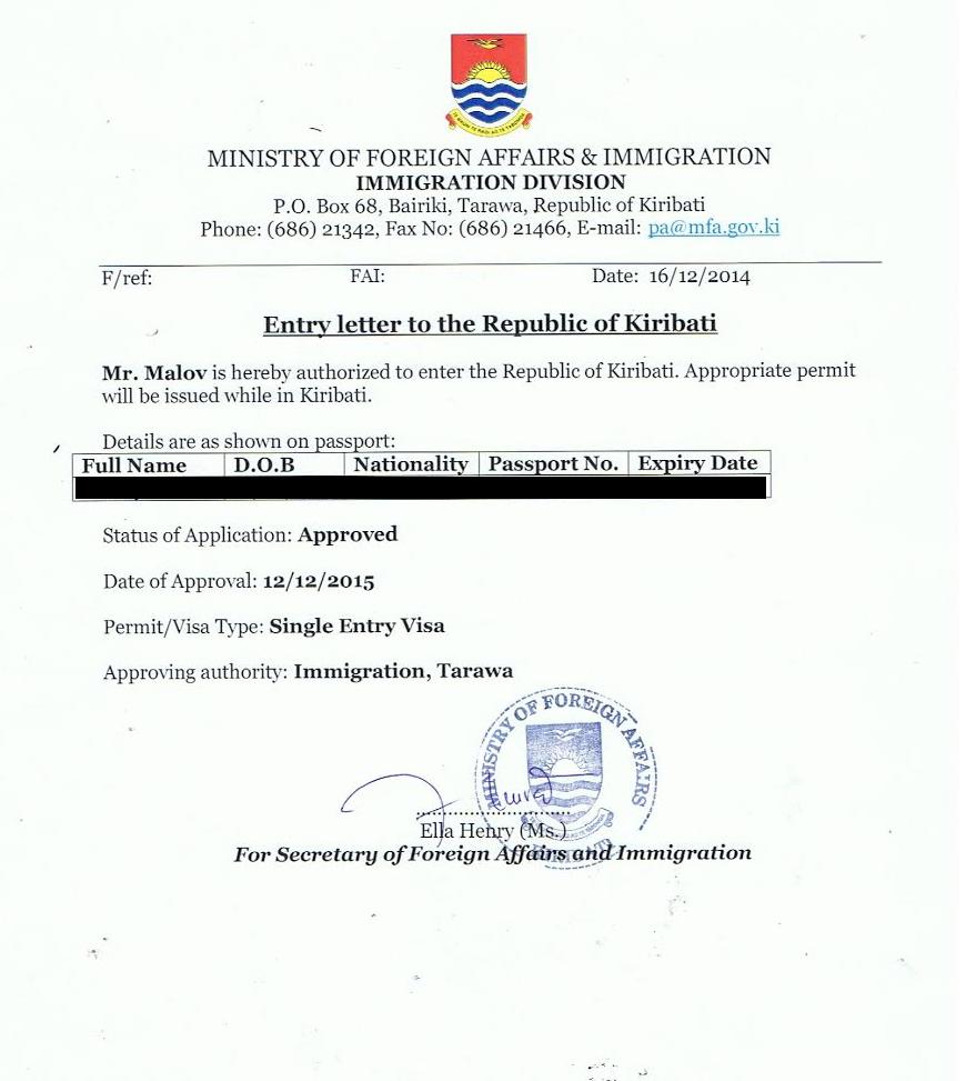 Письмо-разрешение на въезд на Кирибати (для визы); Entry letter to the Republic of Kiribati