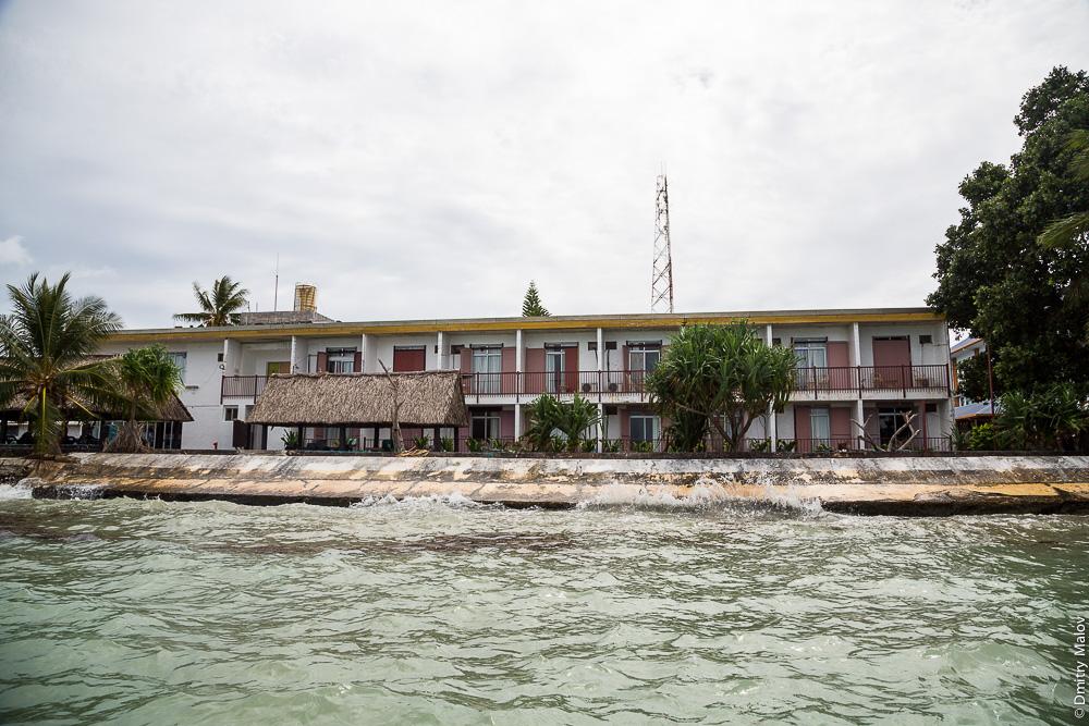 Деревня Ваиаку, атолл Фунафути, Тувалу. Vaiaku village, Tuvalu. Vaiaku Lagi Hotel.
