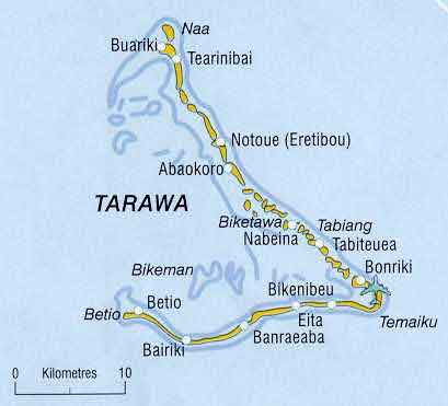 Карта атолла Тарава, Кирибати. Южная Тарава, Северная Тарава. Map of Tarawa atoll, Kiribati. South Tarawa, Northern Tarawa, Betio, Bairiki, Bonriki