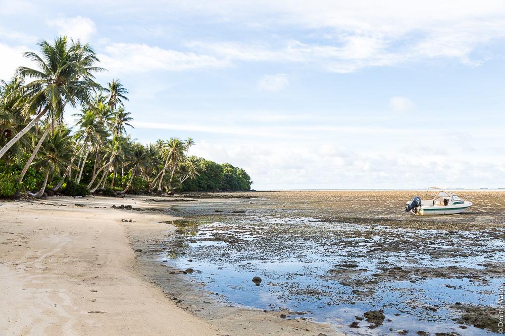 Пальмы, пляж, коралловый риф остров Яп, Микронезия