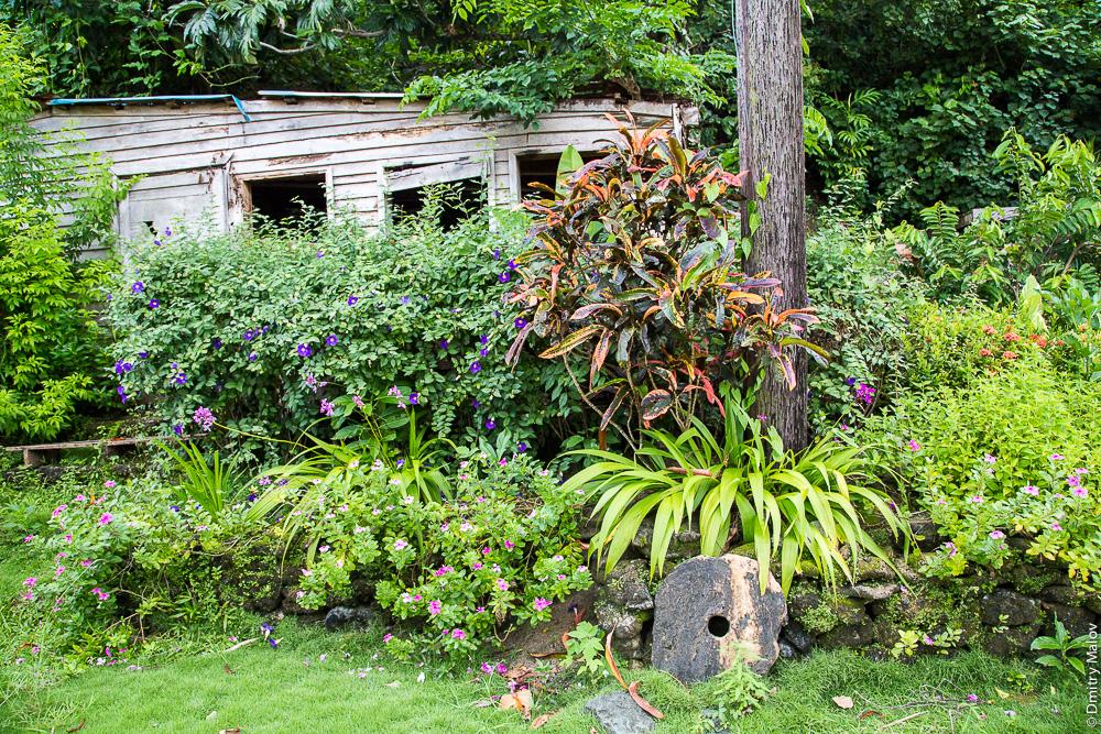 Huge stone money rai by a dilapidated yapese house, Yap Island, Caroline Islands, Federated States of Micronesia. Гигантсткая каменная монета раи у крыльца полуразрушенного япского дома, Остров Яп, Каролинские острова, Федеративные штаты Микронезии