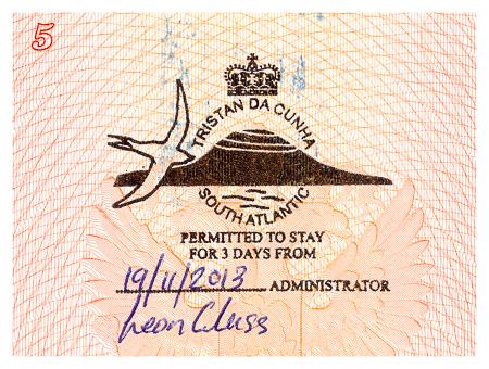 Tristan da Cunha passport border stamp. Въездная пограничная печать/штамп в паспорт, острова Тристан-да-Кунья. Visa. Виза.