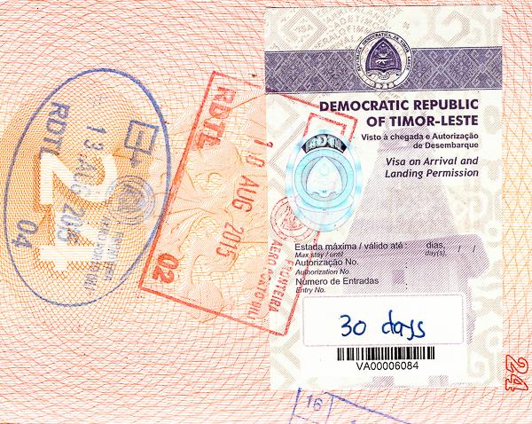 Виза и пограничные печати Восточного Тимора. Timor-Leste Visa and border stamps