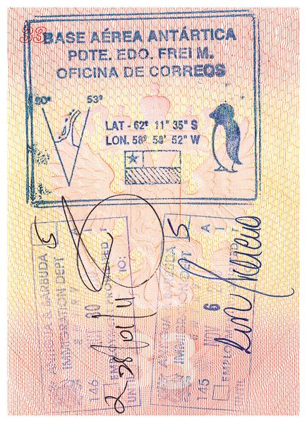Сувенирная печать чилийской антарктической станции. Chilean antarctic base stamp. Antigua Barbuda immigration passport stamp. Пограничная печать/штамп Антигуа и Барбуды в паспорте. Visa. Виза.
