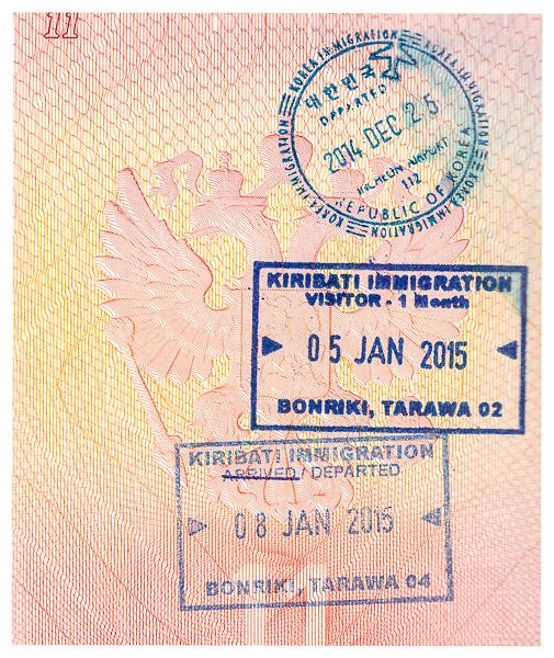 Пограничные печати/штампы Кирибати в паспорте. Kiribati passport border stamps.