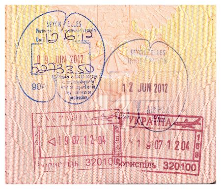 Пограничные печати и штампы в паспорт, Украина, Сейшельские острова. Seychelles and Ukraine passport border stamps