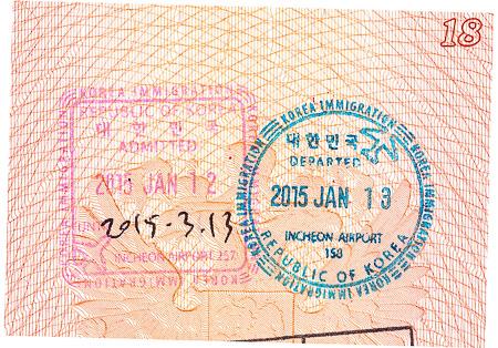 South Korea passport stamps. Пограничные печати/штампы Южной Кореи в паспорте