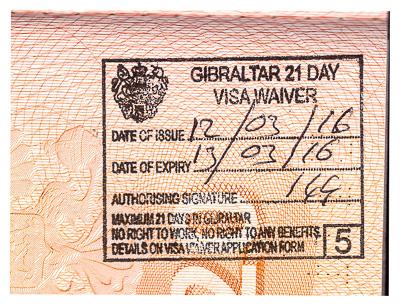 Gibraltar 21 day visa waiver. Passport stamp. Печать Гибралтара в паспорте - безвизовый въезд.