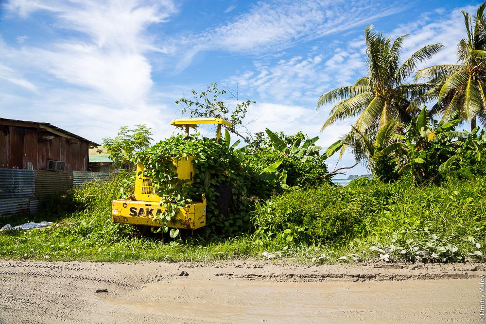 Машина зарастает, джунгли. Дорога вокруг острова Вено, штат Трук (Чуук), Каролинские острова, Микронезия. Road around Weno, Truk/Chuuk, Caroline Islands, Micronesia. Abandoned machinery.