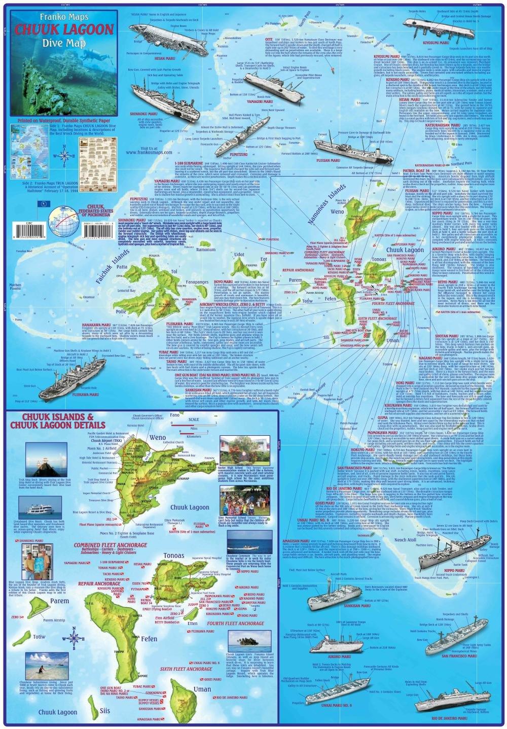 Карта дайверских спотов лагуны Трук (Чуук), Микронезия