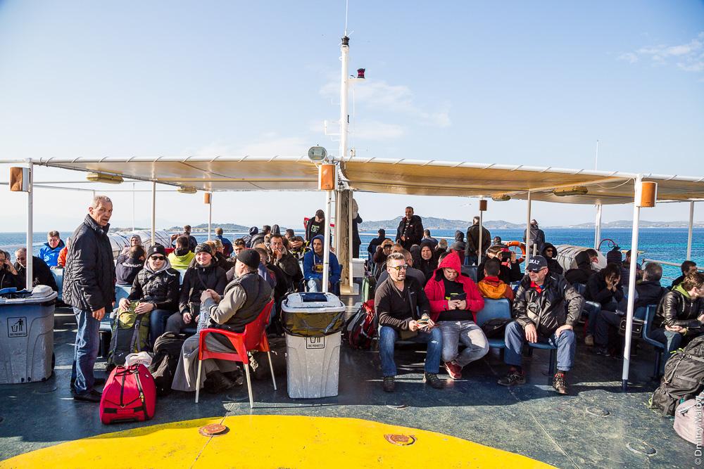 На борту парома на Святую Гору Афон. On board of a ferry to Athos