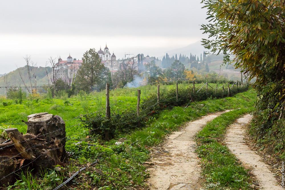 Вид на Андреевский скит и столицу Святой Горы Афон город Карея (Кариес)