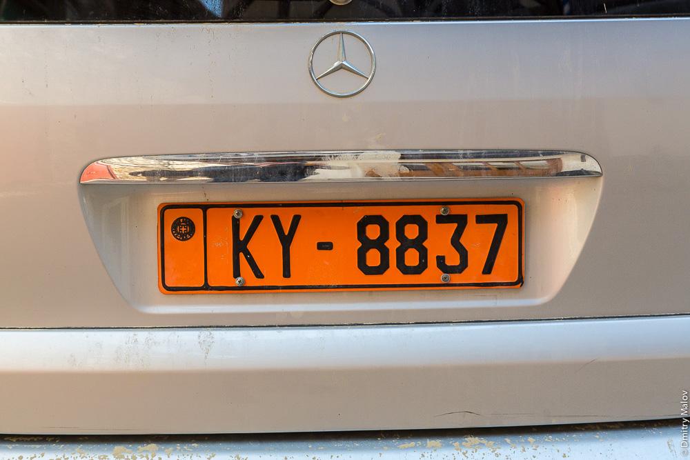Автомобильный номер города Карея (Кариес) на Святой Горе Афон с буквами KY-8837