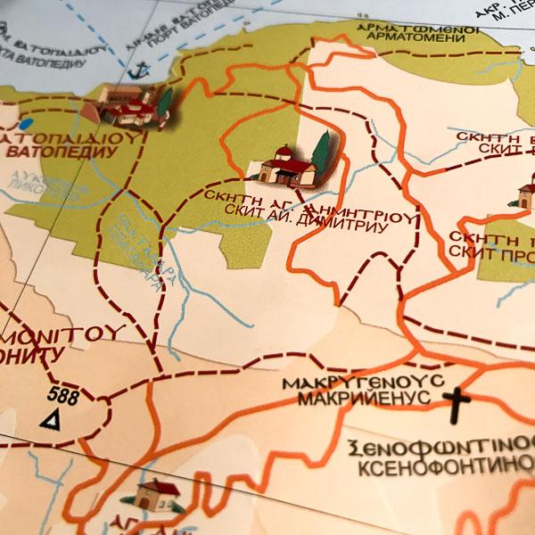 Фрагмент карты Святой Горы Афон. Поклонный крест. Монастырь Ватопед