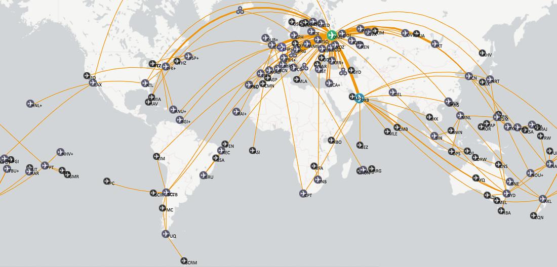 Карта моих полётов по миру