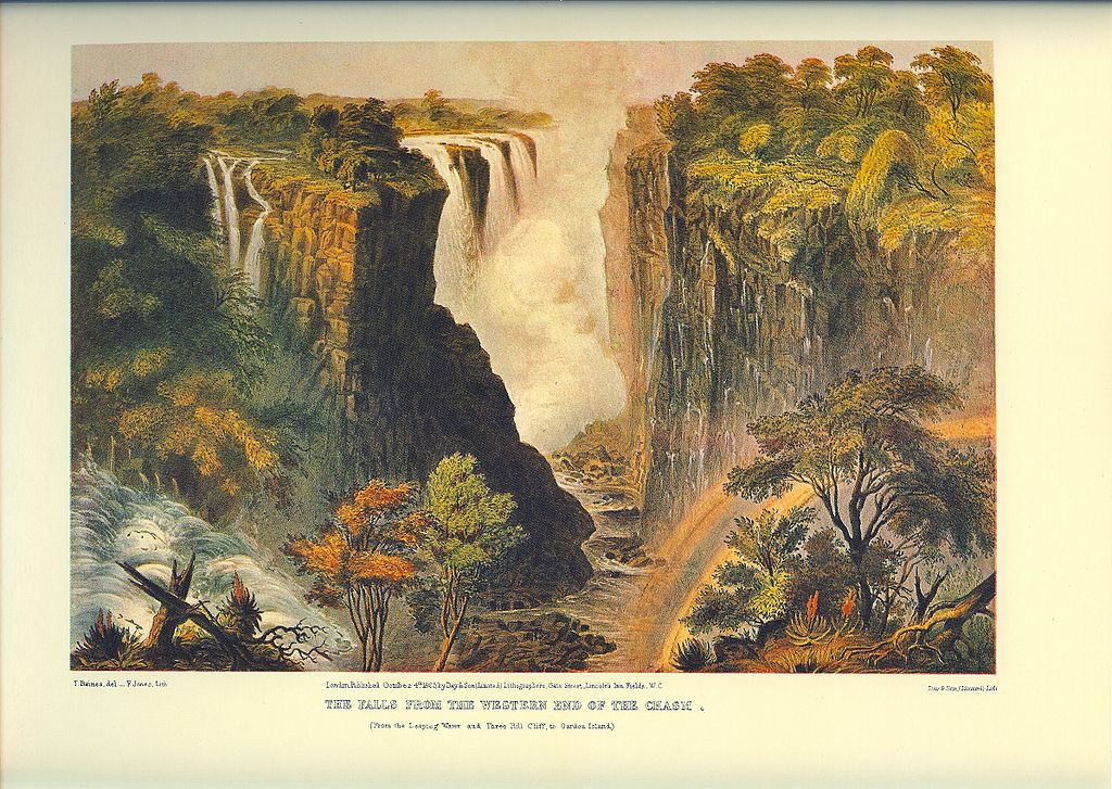 THE FALLS FROM THE WESTERN END OF THE CHASM, (From the Leaping Water and Three Rill Cliff, to Garden Island.). T. Baines del_F. Jones, Lith. London Published October 4th. 1865 by Day & Son, (Limited) Lithographers Gate Street, Lincoln's Inn Fields. WC. Day & Son, (Limited) Lith.