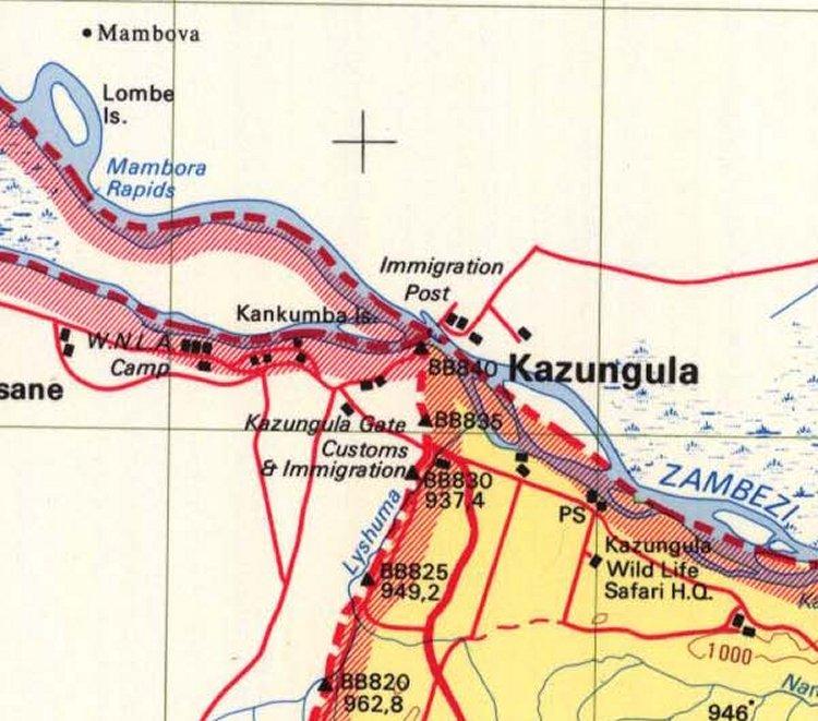 Казунгула, Африка. Единственное место в мире где соприкасаются 4 страны (Зимбабве—Ботсвана—Намибия—Замбия. Карта. Замбези. Quadripoint of Botswana - Namibia - Zambia - Zimbabwe at Kazungula, Africa. Zambezi, map.