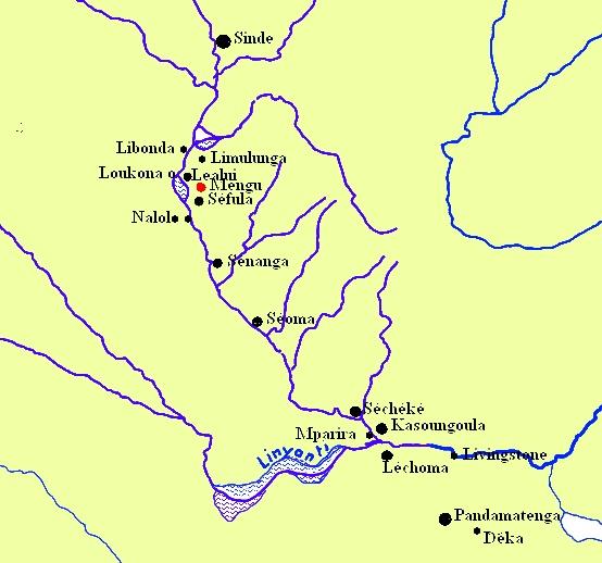 Map of Barotseland. Баротселенд, карта