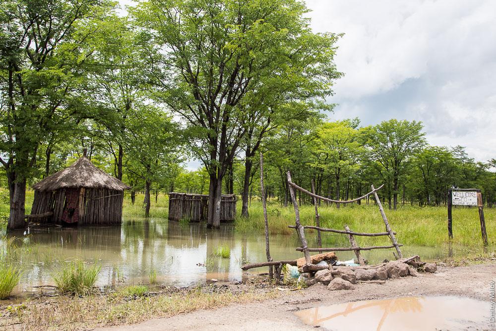 Lozi houses, Barotse Floodplain, between Sesheke and Livingstone, Barotseland, Zambia, Africa. Wellcome to Silenga Village. Пойма Баротсе, между Сешеке и Ливингстоном, Замбия, Баротселенд, Африка. Дома народности лози