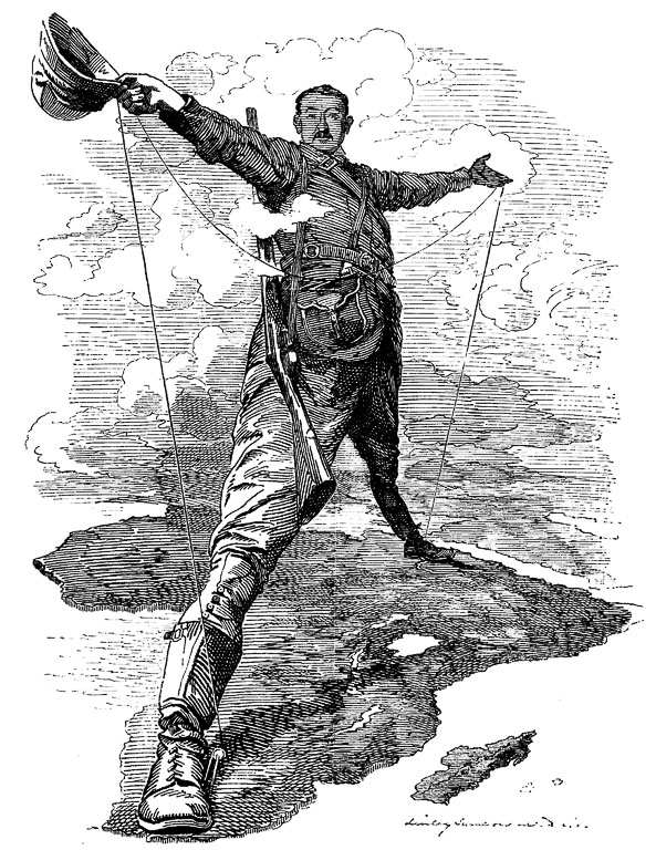 «Колосс Родса». Карикатура из журнала «Панч» (1892). The Rhodes Colossus: Caricature of Cecil John Rhodes, after he announced plans for a telegraph line and railroad from Cape Town to Cairo.