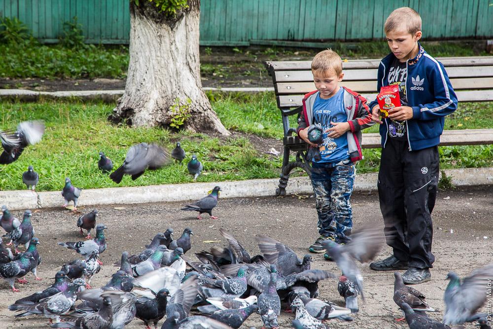 Русские мальчики кормят голубей. Площадь имени 15 мая, центр города Александровска-Сахалинского, Сахалин. May 15 Square, the center of Alexandrovsk-Sakhalinsky, Sakhalin, Russia. Boys feeding pigeons