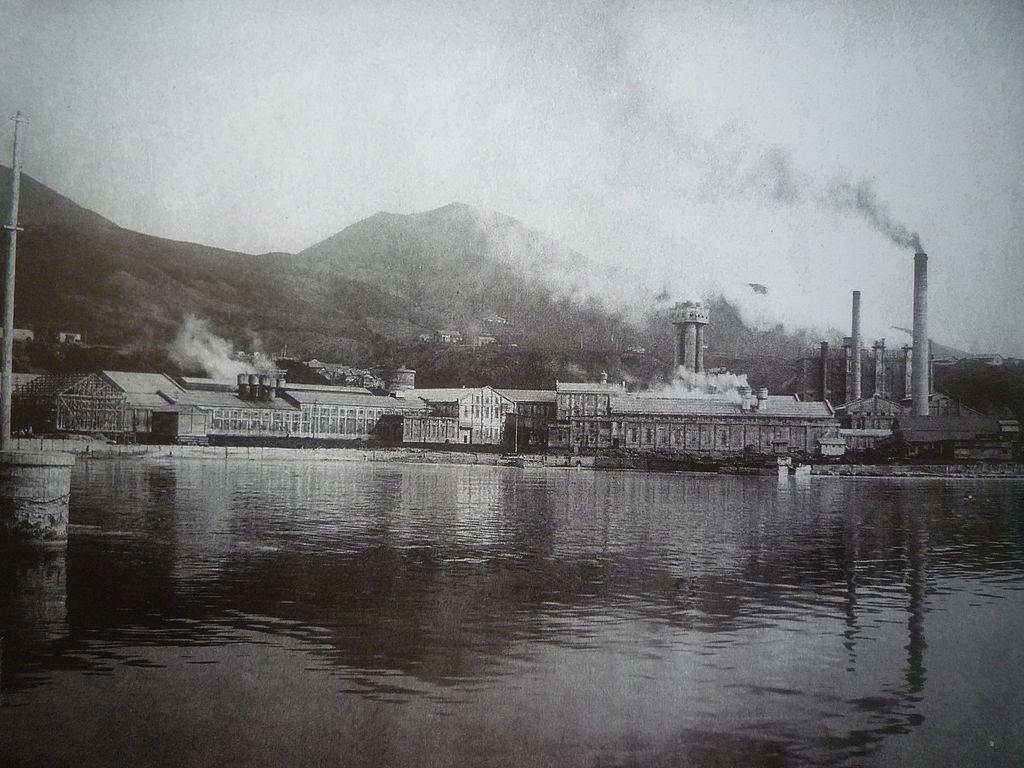 Бумажная фабрика (Маока, 1930-е годы), Карафуто (Южный Сахалин). Ныне город Холмск, Холмский ЦБК, Россия