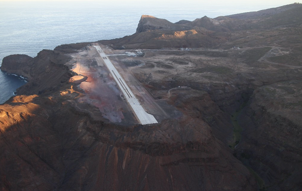 Completed runway view from above, Saint Helena Airport, Remi Bruneton