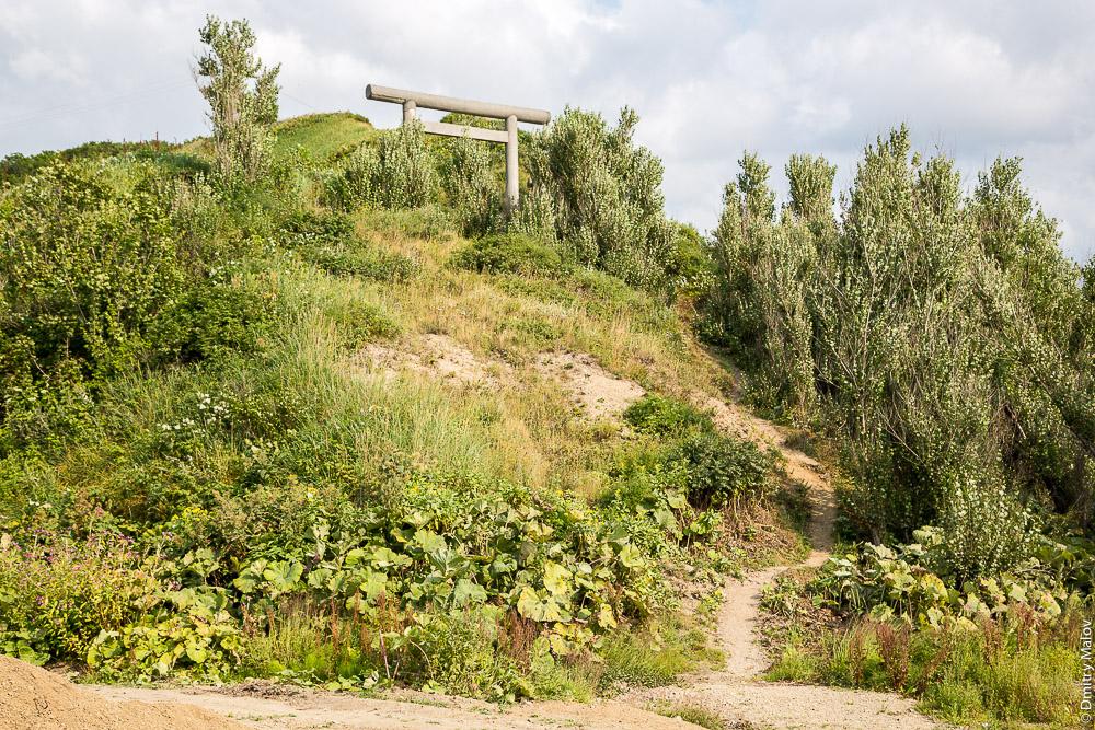 Тории синтоистского храма Томариору-дзиндзя, Томари, Сахалин. Shinto torii of Tomarioru-jinja Shrine, Tomari, Sakhalin, Russia
